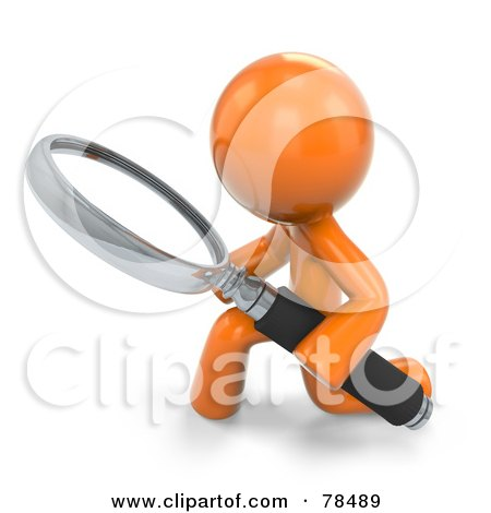Royalty-Free (RF) Clipart Illustration of a 3d Orange Design Mascot Man Kneeling With A Magnifying Glass by Leo Blanchette
