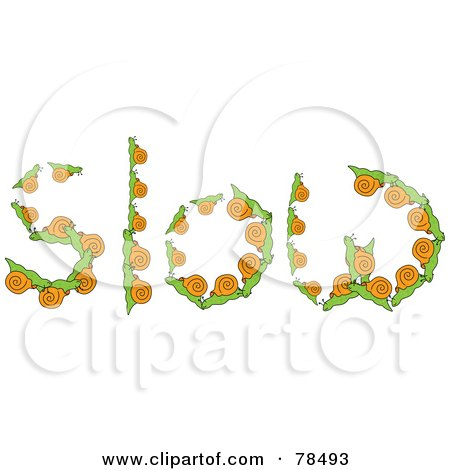 Royalty-Free (RF) Clipart Illustration of The Word Slow Formed With Snails by Prawny