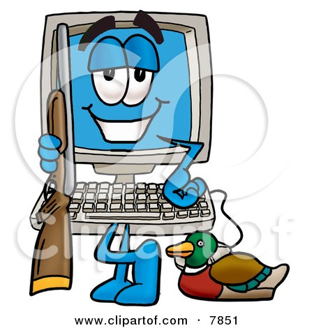 Clipart Picture of a Desktop Computer Mascot Cartoon Character Duck Hunting, Standing With a Rifle and Duck by Toons4Biz