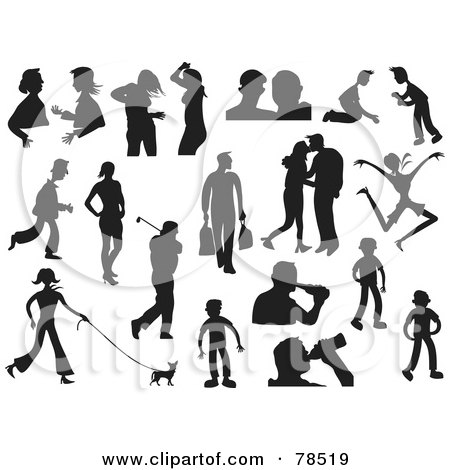 Royalty-Free (RF) Clipart Illustration of a Digital Collage of Black And White Male And Female Lifestyle Silhouettes by Prawny