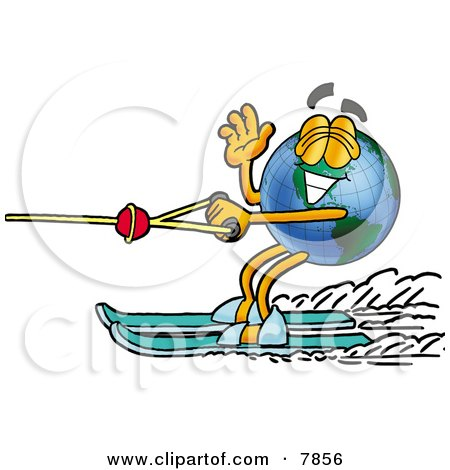 Clipart Picture of a World Earth Globe Mascot Cartoon Character Waving While Water Skiing by Toons4Biz