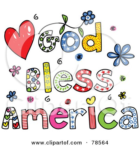 Royalty-Free (RF) Clipart Illustration of Colorful God Bless America Words by Prawny