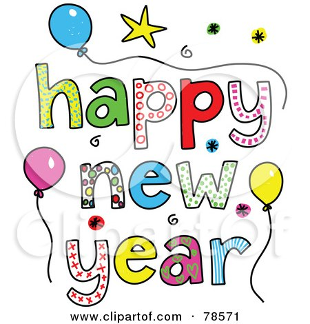 Royalty-Free (RF) Clipart Illustration of Colorful Happy New Year ...