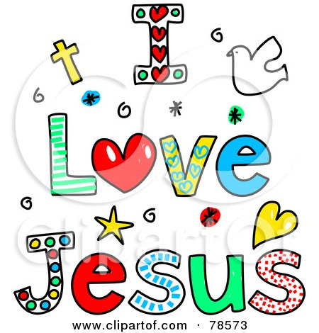 Royalty-Free (RF) Clipart Illustration of Colorful I Love Jesus Words by Prawny #78573