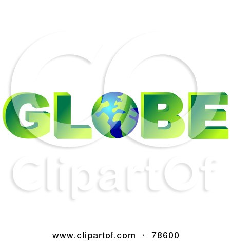 royalty free rf clipart illustration of a 3d word globe with the