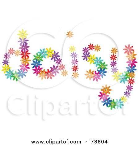 Royalty-Free (RF) Clipart Illustration of The Word Daisy Formed With Colorful Daisies by Prawny