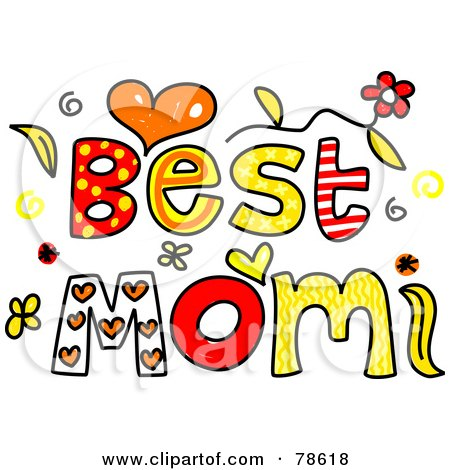 Clipart Of Colorful Sketched Happy Mothers Day Text