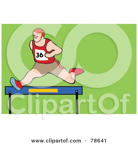 Royalty-Free (RF) Clipart Illustration of a Track Runner Leaping Over A Hurdle by Prawny