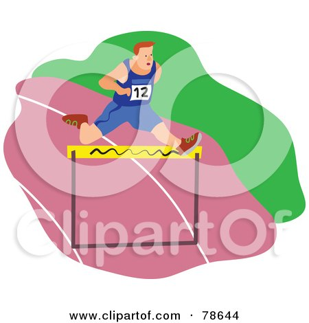 Royalty-Free (RF) Clipart Illustration of a Man Leaping A Hurdle On A Pink Track by Prawny