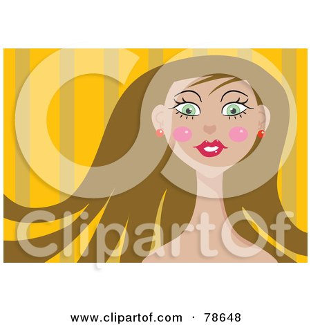 Royalty-Free (RF) Clipart Illustration of a Pretty Brunette Woman Over Orange by Prawny