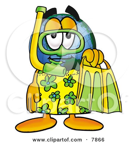 Clipart Picture of a World Earth Globe Mascot Cartoon Character in Green and Yellow Snorkel Gear by Toons4Biz