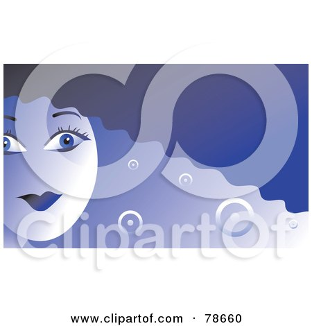 Royalty-Free (RF) Clipart Illustration of a Blue Woman With Modern Hair by Prawny