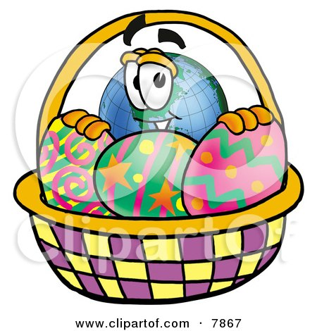 Clipart Picture of a World Earth Globe Mascot Cartoon Character in an Easter Basket Full of Decorated Easter Eggs by Toons4Biz