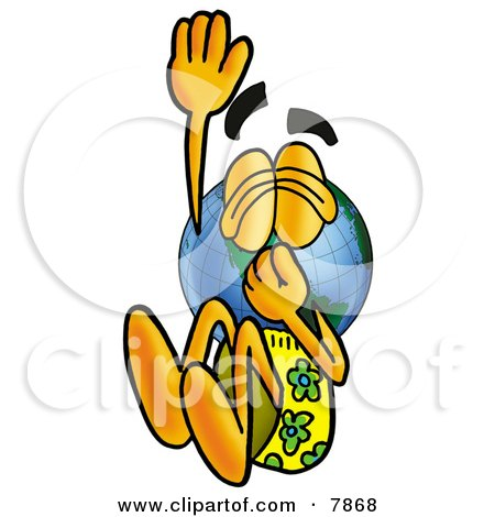 Clipart Picture of a World Earth Globe Mascot Cartoon Character Plugging His Nose While Jumping Into Water by Toons4Biz
