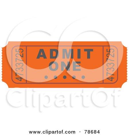 Royalty-Free (RF) Clipart Illustration of a Single Orange Admit One Ticket Stub by Prawny