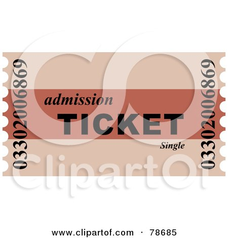 Royalty-Free (RF) Clipart Illustration of a Two Toned Red Admission Ticket by Prawny