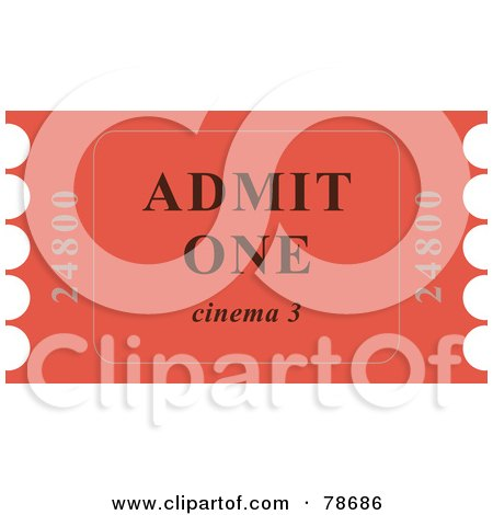 Royalty-Free (RF) Clipart Illustration of a Single Red Admit One Ticket Stub by Prawny