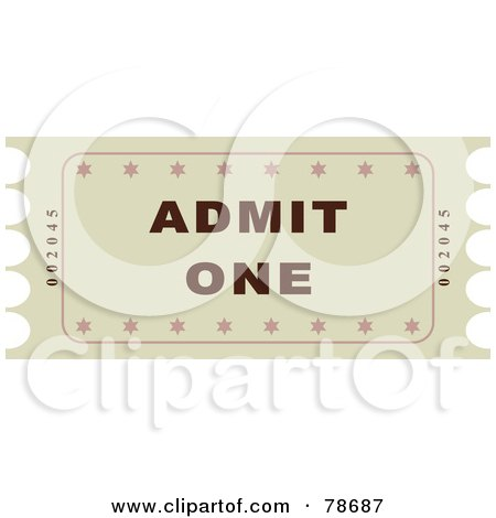 Royalty-Free (RF) Clipart Illustration of a Single Beige Admit One Ticket Stub by Prawny