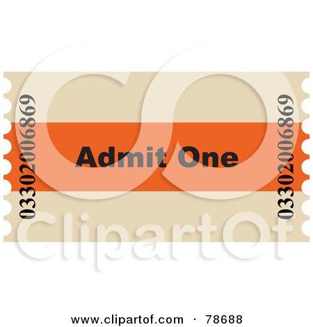 Royalty-Free (RF) Clipart Illustration of a Single Admit One Ticket Stub by Prawny
