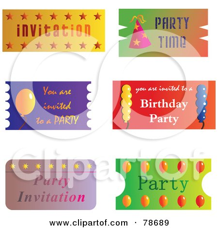 Royalty-Free (RF) Clipart Illustration of a Digital Collage Of Party Tickets by Prawny