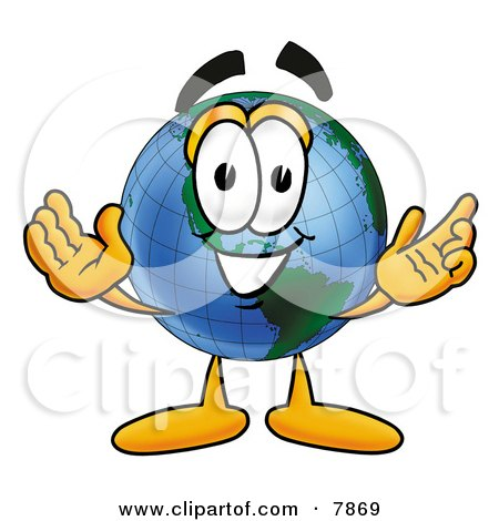 World Earth Globe Mascot Cartoon Character With Welcoming Open Arms Posters, Art Prints