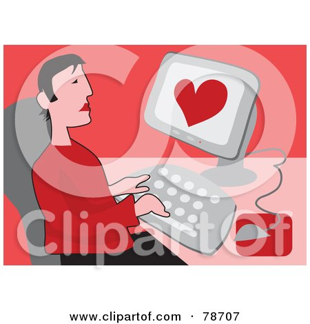 Royalty-Free (RF) Clipart Illustration of a Lonely Man Using An Internet Dating Site On A Computer, Over Red by Prawny