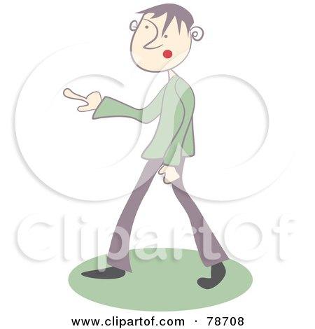 little green Man holding a