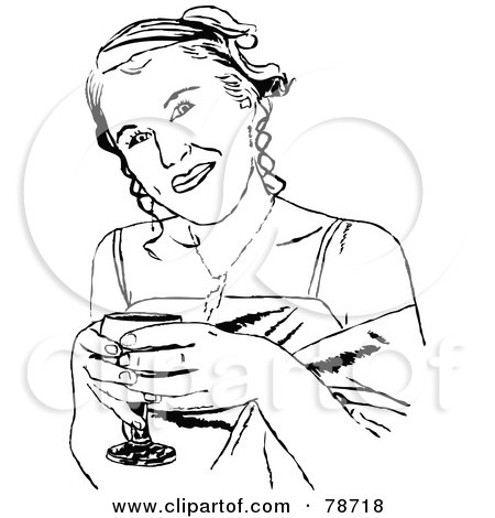 Royalty-Free (RF) Clipart Illustration of Black And White Formal Girl Drinking by Prawny