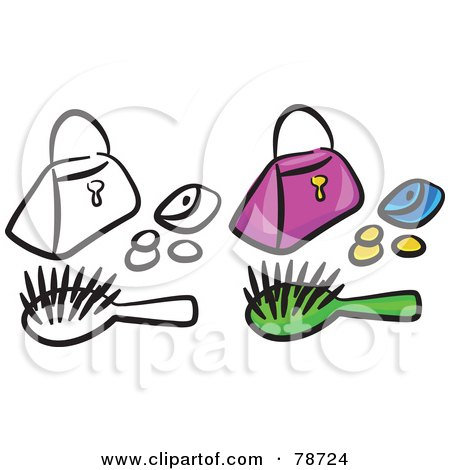 Royalty-Free (RF) Clipart Illustration of a Digital Collage Of A Purse With Coins And A Brush And Outline by Prawny