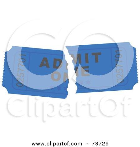 Royalty-Free (RF) Clipart Illustration of a Torn Blue Admit One Ticket Stub by Prawny