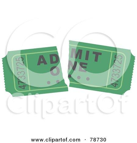 Royalty-Free (RF) Clipart Illustration of a Torn Green Admit One Ticket Stub by Prawny