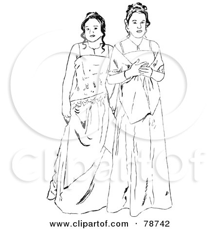 Royalty-Free (RF) Clipart Illustration of Black And White Prom Girls In Gowns by Prawny