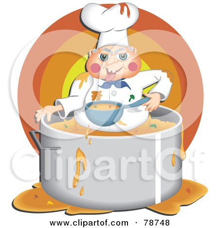 Royalty-Free (RF) Clipart Illustration of a Greedy Chef Eating Food Inside His Pot by Prawny