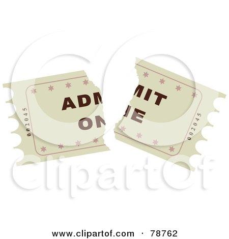 Royalty-Free (RF) Clipart Illustration of a Torn Beige Admit One Ticket Stub by Prawny