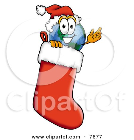 Clipart Picture of a World Earth Globe Mascot Cartoon Character Wearing a Santa Hat Inside a Red Christmas Stocking by Toons4Biz