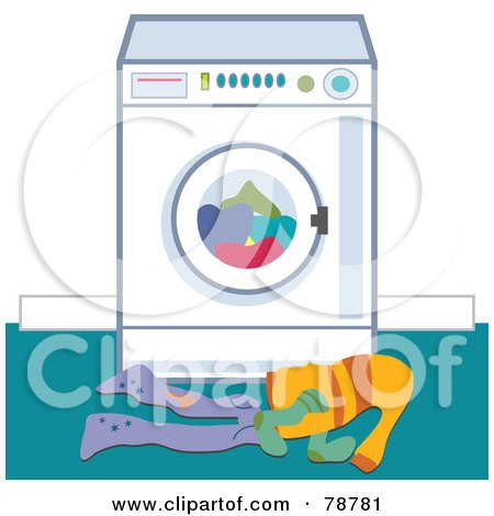 Royalty-Free (RF) Clipart Illustration of Dirty Laundry In Front Of A Washing Machine by Prawny