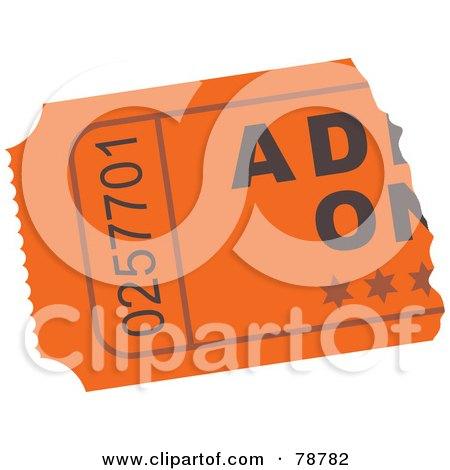 Royalty-Free (RF) Clipart Illustration of a Ripped Orange Admit One Ticket Stub by Prawny