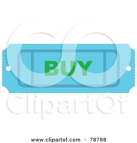 Royalty-Free (RF) Clipart Illustration of a Blue Buy Ticket Stub by Prawny