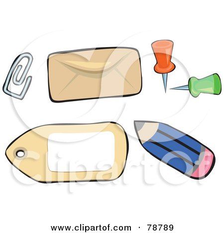 Royalty-Free (RF) Clipart Illustration of a Digital Collage Of Office Paperclips, Envelopes, Pins, Tags And Pencils by Prawny