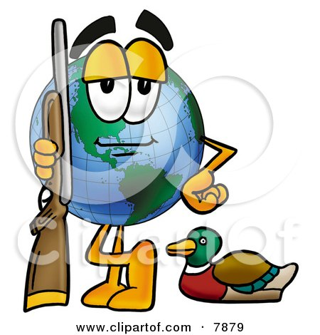 Clipart Picture of a World Earth Globe Mascot Cartoon Character Duck Hunting, Standing With a Rifle and Duck by Toons4Biz