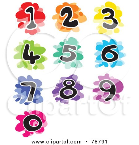 Royalty-Free (RF) Clipart Illustration of a Digital Collage Of Colorful Splattered Funky Numbers by Prawny