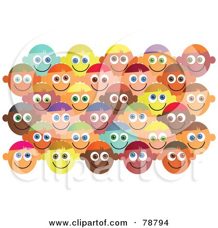 Royalty-Free (RF) Clipart Illustration of a Crowd of Happy Diverse Faces by Prawny