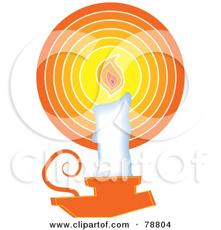 Royalty-Free (RF) Clipart Illustration of a White Wax Candle In An Orange Holder by Prawny