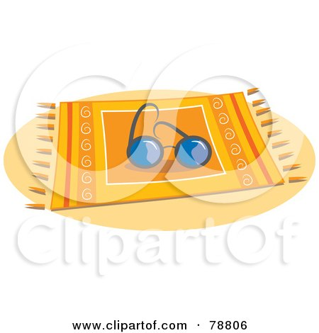 Royalty-Free (RF) Clipart Illustration of a Pair Of Sunglasses Resting On A Beach Blanket by Prawny
