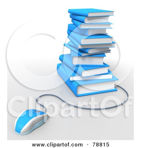 Royalty-Free (RF) Clipart Illustration of a 3d Blue Computer Mouse Connected To A Stack Of Blue Text Books by Tonis Pan
