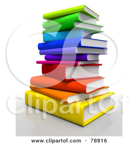 Royalty-Free (RF) Clipart Illustration of a 3d Rainbow Colored Stack Of Text Books by Tonis Pan