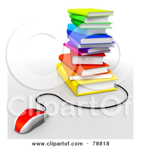 Royalty-Free (RF) Clipart Illustration of a 3d Red Computer Mouse Connected To A Stack Of Colorful Text Books by Tonis Pan