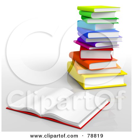 Royalty-Free (RF) Clipart Illustration of a 3d Blank Open Book In Front Of A Stack Of Colorful Books by Tonis Pan