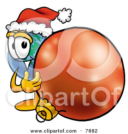 Clipart Picture of a World Earth Globe Mascot Cartoon Character Wearing a Santa Hat, Standing With a Christmas Bauble by Toons4Biz
