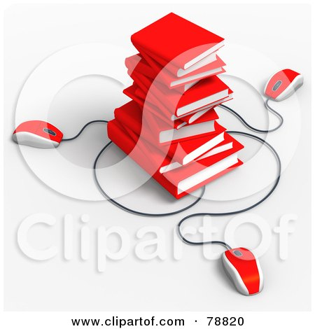 Royalty-Free (RF) Clipart Illustration of Three 3d Red Computer Mice Connected To A Stack Of Red Text Books by Tonis Pan